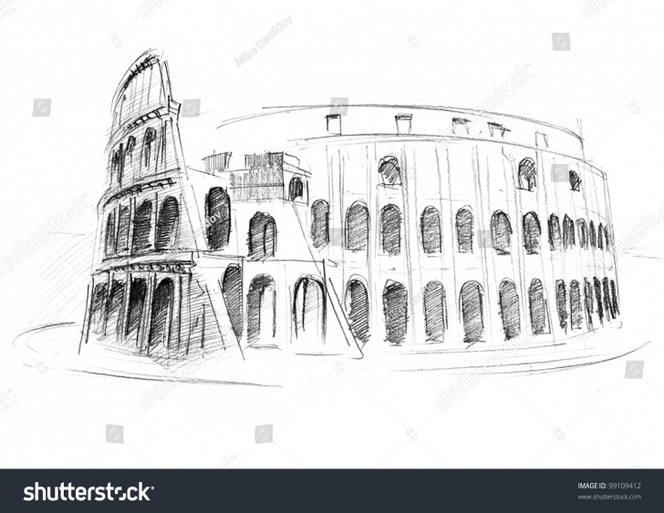 Awesome Colosseum Pencil Sketch for Beginners Pencil Drawing Colosseum Roma Italy Stock Photo (Edit Now) 99109412 Photo