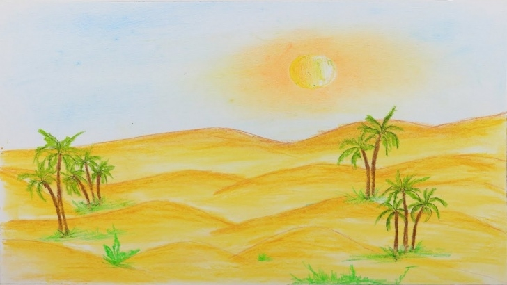 Awesome Desert Pencil Drawing Ideas How To Draw Scenery Of Desert Step By Step (Very Easy And Simple) Pictures