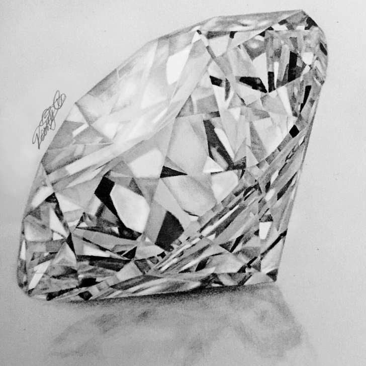 Awesome Diamond Pencil Drawing Simple Realistic Diamond Drawing At Paintingvalley | Explore Collection Photos