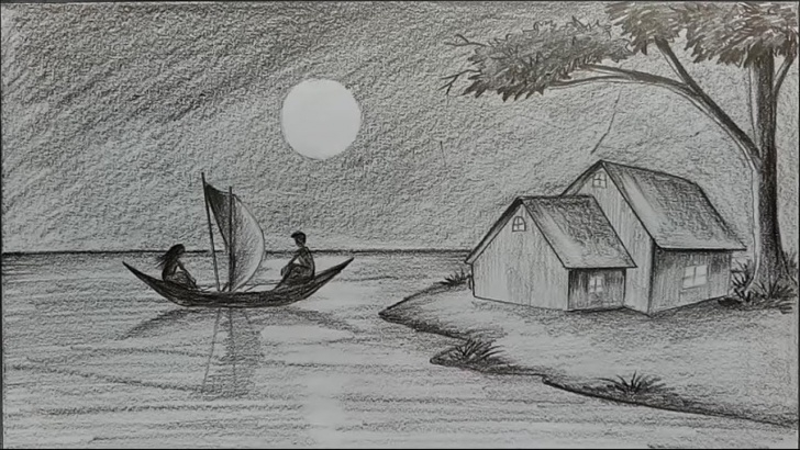 Awesome Drawing Using Pencil Techniques for Beginners How To Draw Moonlit Night With Pencil Step By Step Photo