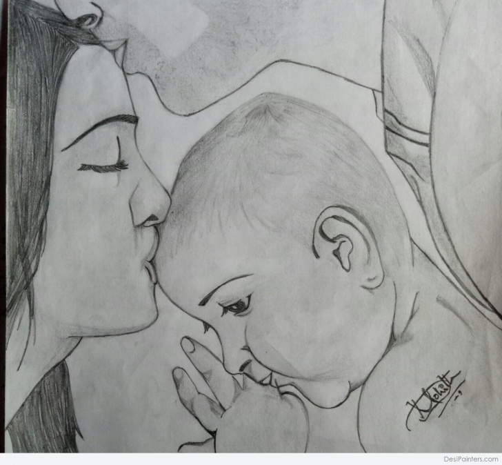 Awesome Family Sketches With Pencil Techniques for Beginners Pencil Sketch Of Family Love | Desipainters Photo