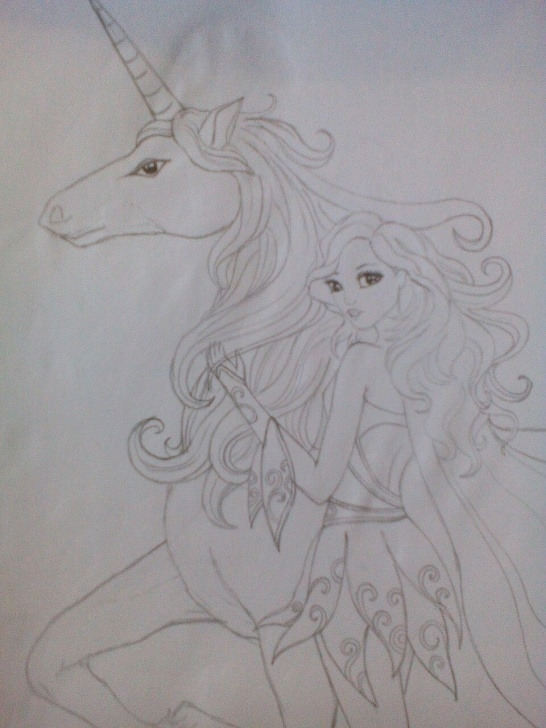 Awesome Fantasy Pencil Drawings Techniques Fantasy Fairy And Unicorn. Simple Pencil Drawing. | I Love Art Picture