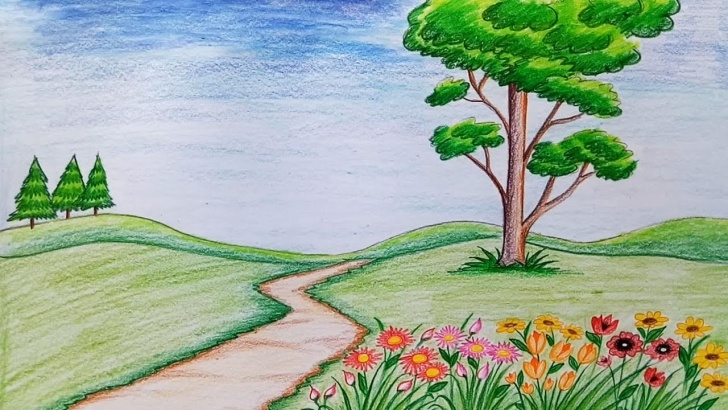 Flower Garden Drawing Pencil
