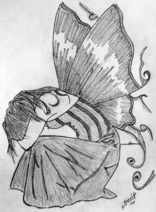 Awesome Gothic Pencil Drawings Free Gothic Angel !!! | Black On White Pictures