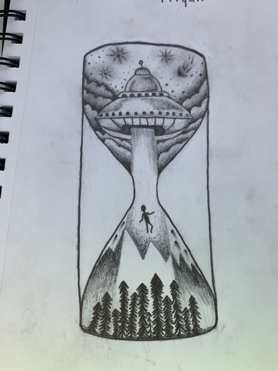 Awesome Hourglass Pencil Drawing Techniques for Beginners Weird Hourglass/alien Abduction Drawing Saw It As A Tattoo // Not Pictures