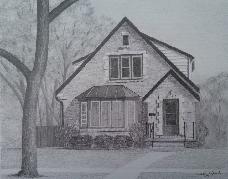 Awesome House Pencil Sketch Ideas Custom Home Drawing From Photo - House Pencil Sketch Art Landscape Drawing  From Picture Picture
