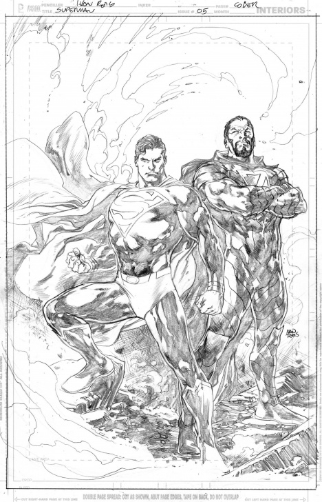 Awesome Ivan Reis Pencils for Beginners Superman (2018) 05 Cover - Ivan Reis - Pencils Only, In Chiaroscuro Pics