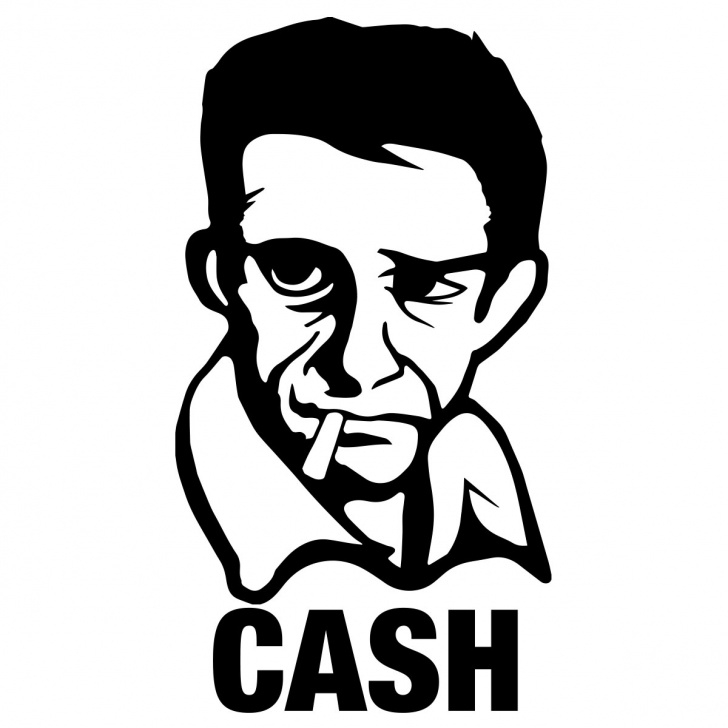 Awesome Johnny Cash Stencil Art Easy Johnny Cash Sticker Images