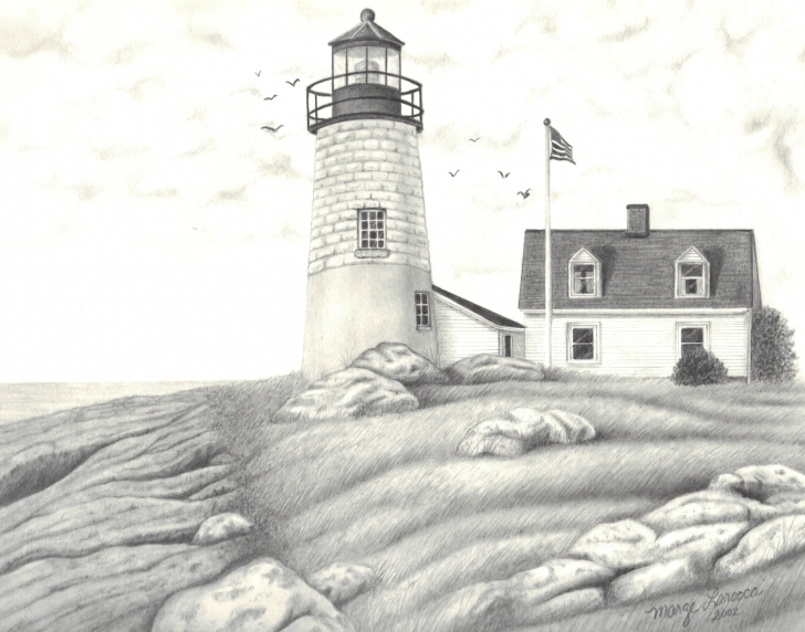 Awesome Lighthouse Pencil Drawing Techniques Beach Lighthouse - Pencil Drawing | Painting-Lighthouse | Lighthouse Photo