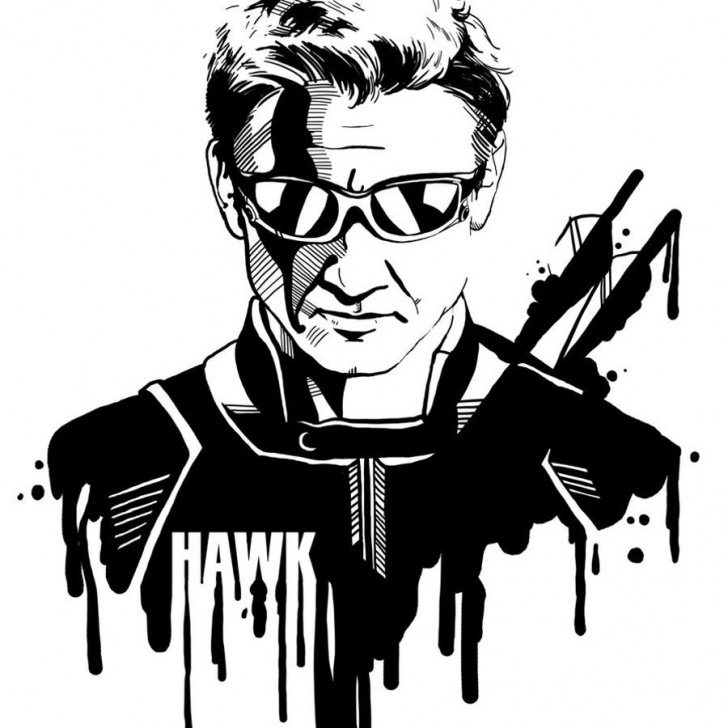Awesome Marvel Stencil Art Simple Hawkeye-Stencil | Stencil Patterns | Marvel Drawings, Avengers Art Image