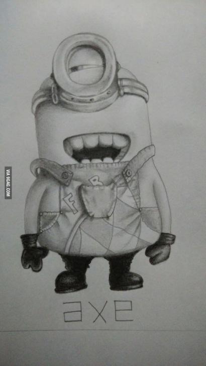 Awesome Minion Pencil Drawing Tutorials Minion Pencil Sketch - 9Gag Image