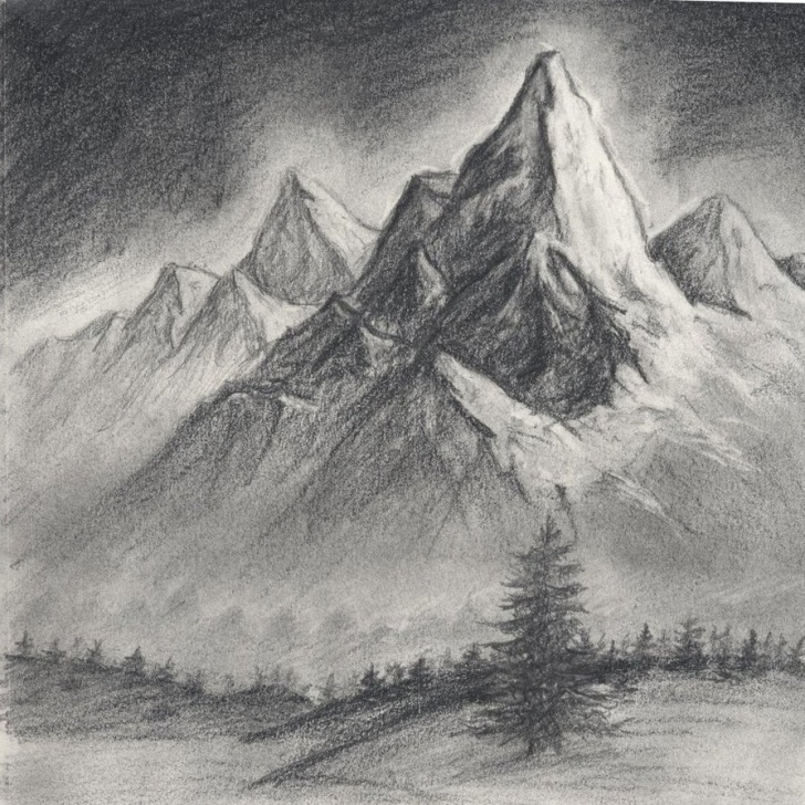 Awesome Mountain Scenery Sketch Free Simple Mountain Drawing Landscape And Drawing Of Mountain Scenery Photo