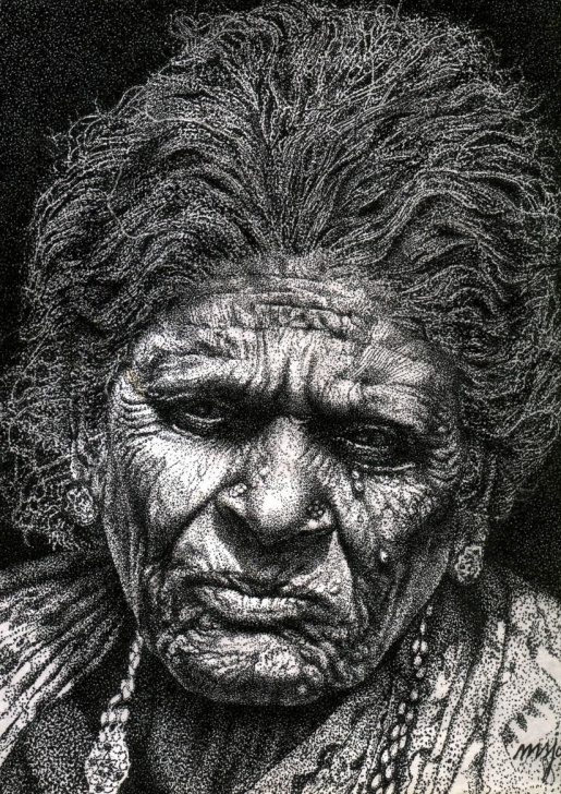 Awesome Pencil Dot Art Tutorial Old Woman In Dot Work - Sketching By Samuel Johnson In Pen And Ink Photos