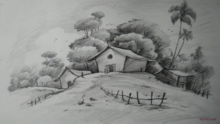 Awesome Pencil Shading Scenery Drawing Tutorial Shading Drawing Of Scenery And Pencil Shading Drawings Scenery Pictures