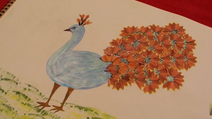 Awesome Pencil Shaving Drawing Easy Peacock Pencil Shavings Art | Craft For Kids Pic