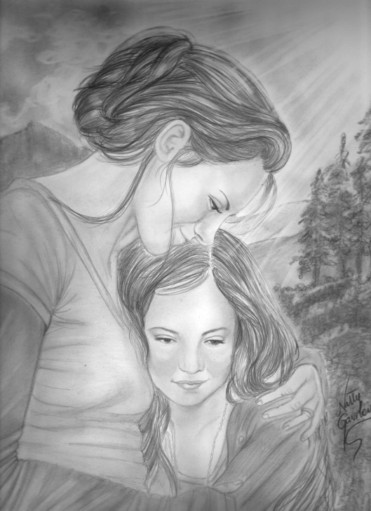 Pencil Sketches Of Mother And Daughter