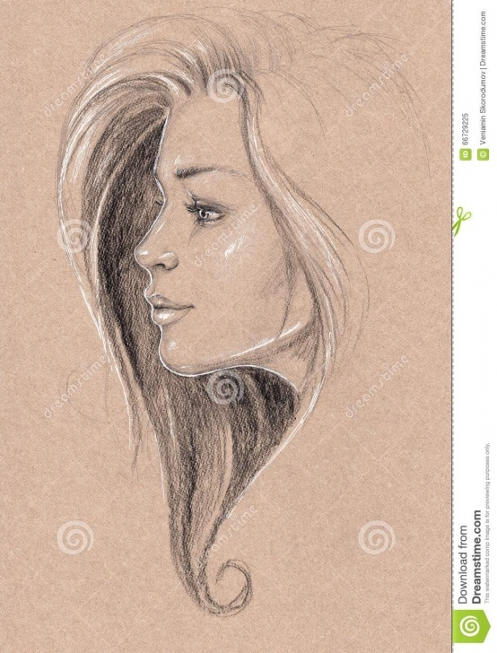 Awesome Pretty Pencil Drawings Free Pencil Drawing Of A Pretty Girl With Curly Hair Stock Illustration Photos