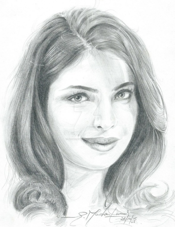 Awesome Priyanka Chopra Pencil Sketch Lessons Pencil Portrait Of Priyanka Chopra By Madhanskumar On Deviantart Pic