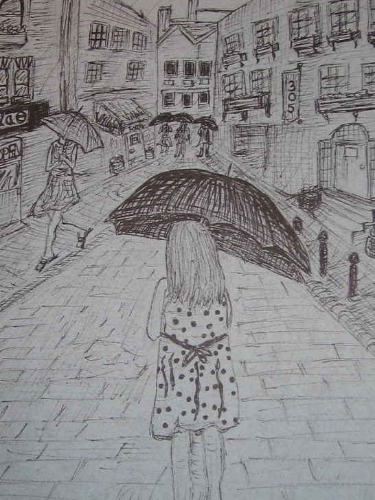Awesome Rainy Day Pencil Drawing Techniques for Beginners Rainy Season Sketch At Paintingvalley | Explore Collection Of Pictures