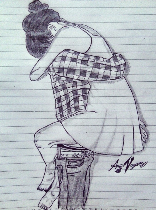 Awesome Romantic Sketch Drawing Techniques for Beginners Insta- @amannagar_Artist Couples Goal Sketch Couple Time Love_Sketch Image