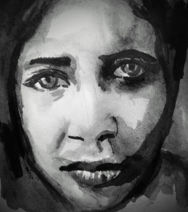 Awesome Sad Portrait Drawing Ideas Sadness In Her Eyes - Ink And Water Portrait Drawing — Steemit Image