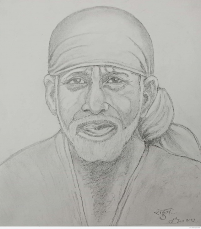Awesome Sai Baba Pencil Sketch Simple Wonderful Pencil Sketch Of Sai Baba | Desipainters Photos