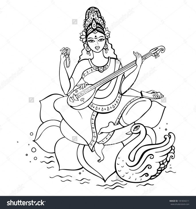 Awesome Saraswati Pencil Sketch Tutorial Pencil Sketch Of Maa Saraswati And Saraswati Mata Sketch Simple Image