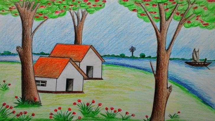 Awesome Scenery Drawing With Pencil Colour Simple How To Draw Beautiful Scenery With Colour Pencils Images