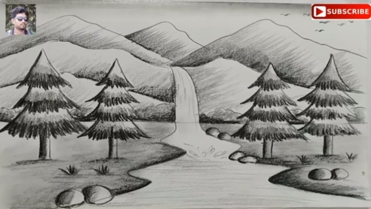 Awesome Scenery Sketch Easy Free How To Draw Easy Pencil Sketch Scenery For Kids,landscape Pahar And River  Side Scenery Drawing Image