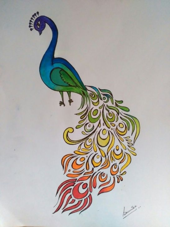 Awesome Simple Pencil Sketch Of Peacock Courses Peacock Abstract Colorful Rainbow Bird India Nature Easy Color Image