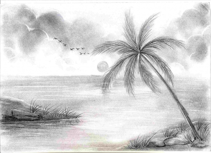 Awesome Sunset Pencil Sketch Easy Simple Sunset Pencil Drawing | Drawing Work Images
