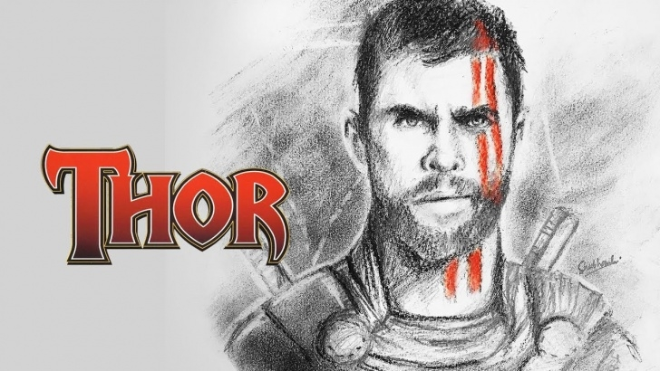 Awesome Thor Drawing In Pencil Tutorial Thor Ragnarok-Pencil Sketching Photos