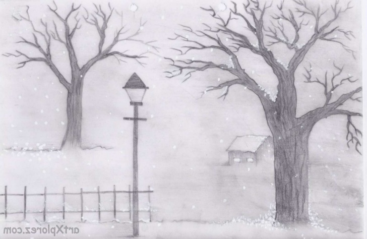 Awesome Winter Pencil Drawings Lessons 12 Inspiring Easy Winter Landscape Drawing Photos - Landscape Pictures