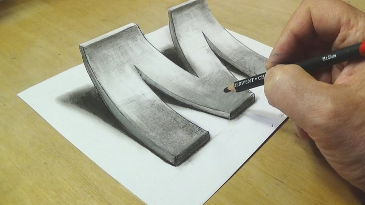 Best 3D Shading Drawing Free How To Draw 3D Letter M - Drawing With Pencil - By Vamos Photos