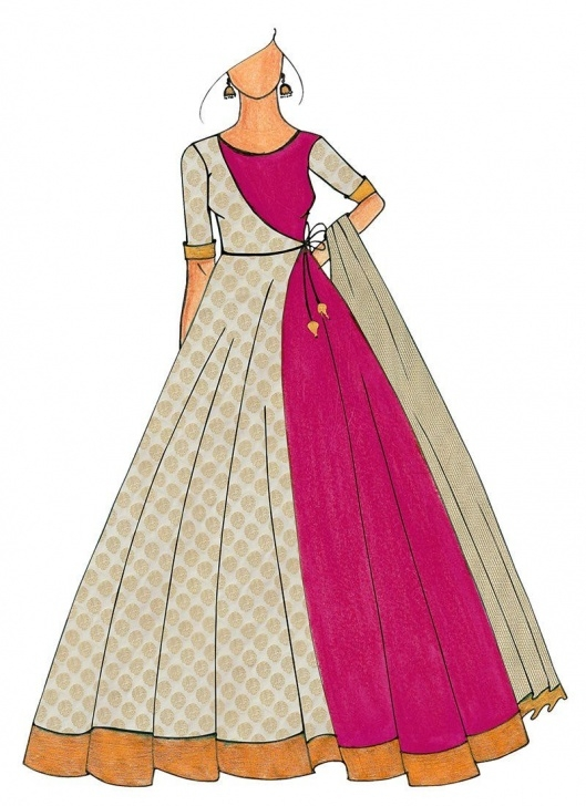 Best Anarkali Dress Pencil Sketch Lessons A Full Length Magenta Jacket Style Anarkali | Ethnovogue By Cbazaar Pictures