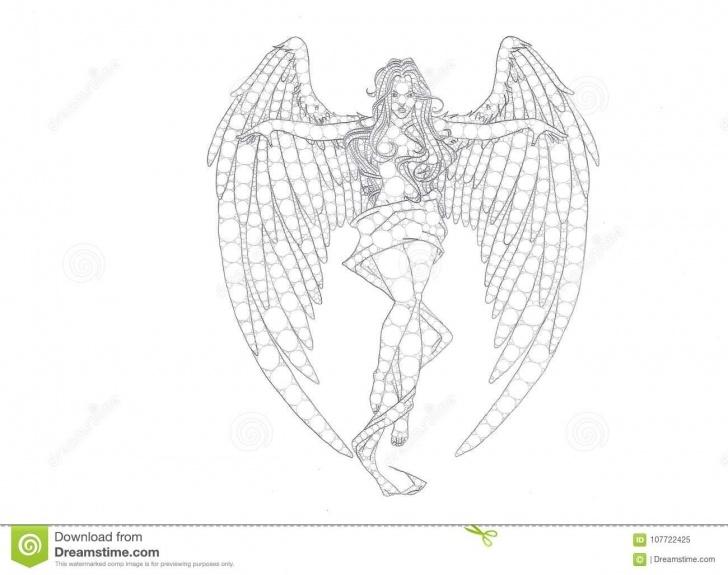Best Angel Pencil Drawing Free Female Angel Pencil Drawing Stock Illustration - Illustration Of Image