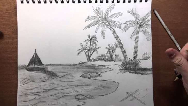 Best Beach Pencil Drawing Tutorial Beach View Pencil Drawing Photo