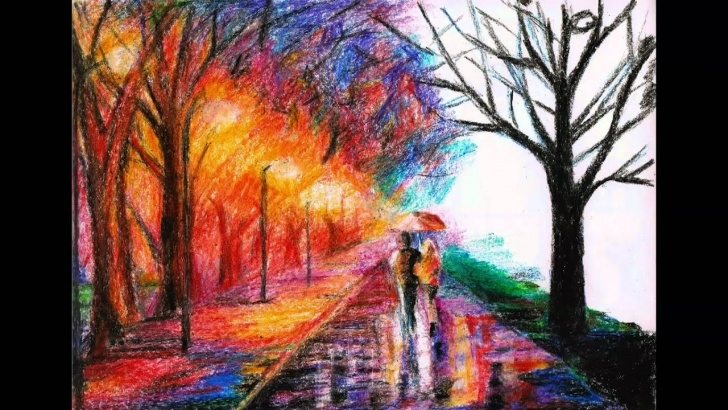 Best Beautiful Crayon Drawings Tutorials Crayon Drawing Of Leonid Afremov's Artwork Pic