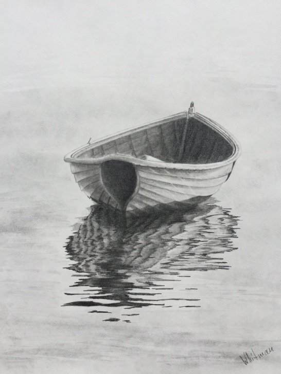Best Boat Pencil Sketch for Beginners $90 Row Boat Reflections Sketch. Original Art, Pencil Drawing By Picture