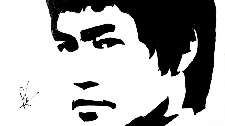 Best Bruce Lee Stencil Art Lessons Bruce Lee Up Side Down(Stencil Art) Image