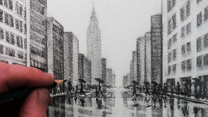 Best Building Pencil Sketch Easy How To Draw A City: Tonal Pencil Drawing Pic