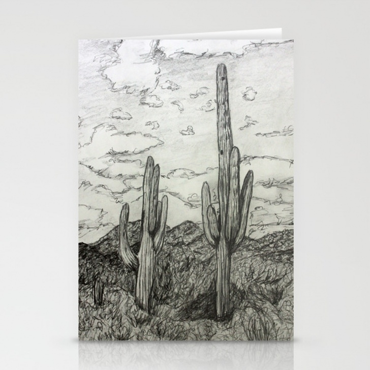 Best Cactus Pencil Drawing Easy Saguaro Cactus Pencil Drawing Stationery Cards By Donnabellas Pics