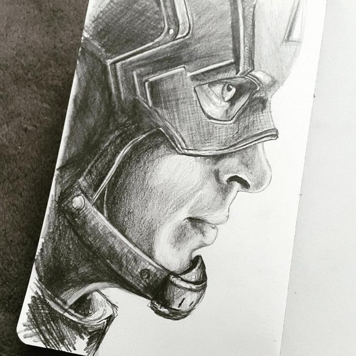 "Best Captain America Pencil Drawing Ideas Cbeltrá On Twitter: ""pencil Drawing On Moleskine Sketchbook Of Chris Image"