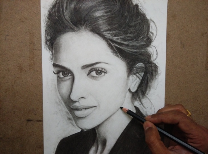 Best Charcoal Pencil Shading Free Drawing Deepika Padukone With Charcoal Pencils - Timelapse | Art In Pics