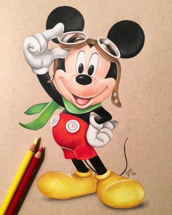 Best Disney Colored Pencil Drawings Step by Step Mickey Mouse (Drawing By Juliannamaston @instagram) #disney | Mickey Pic
