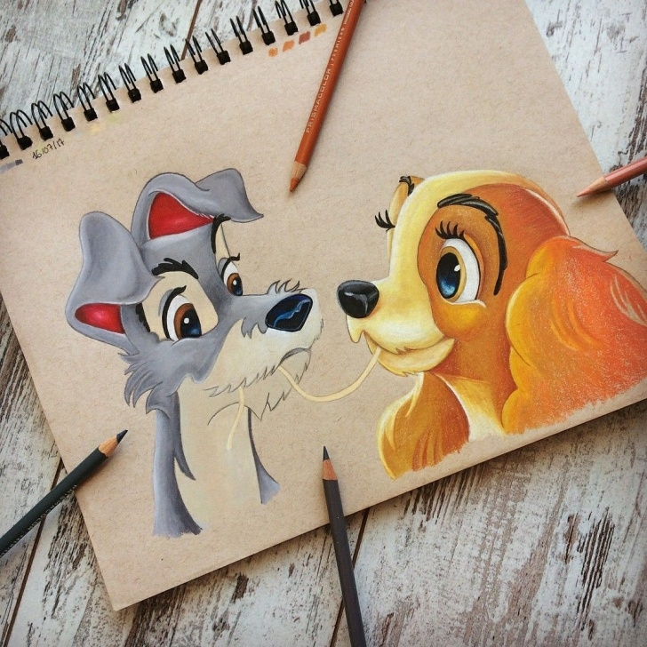 Best Disney Colored Pencil Drawings Tutorials Lady And The Tramp @colorful.disney | Art || Colored Pencil Image