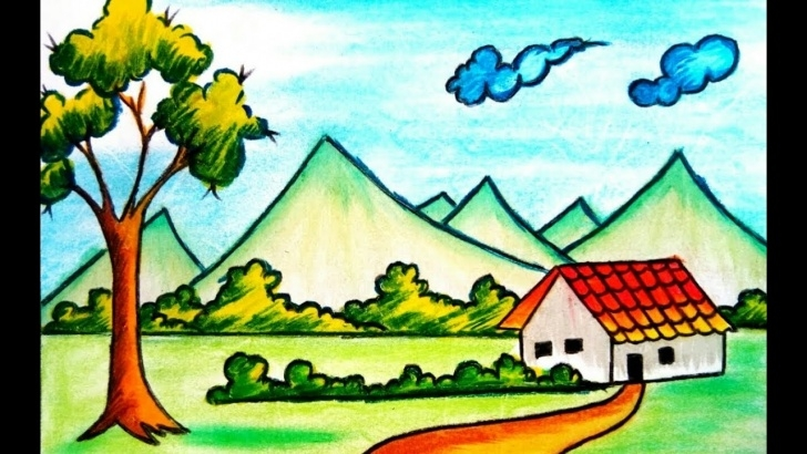 Best Drawing Images Village Free How To Draw Village Scenery Drawing For Kids (2017) Pics
