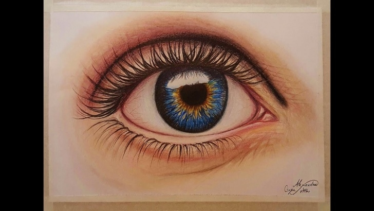 Best Eye Color Pencil Drawing for Beginners How I Draw-Paint Realistic Eye-Super Speed Video-Colored Pencil And Pastel Photo