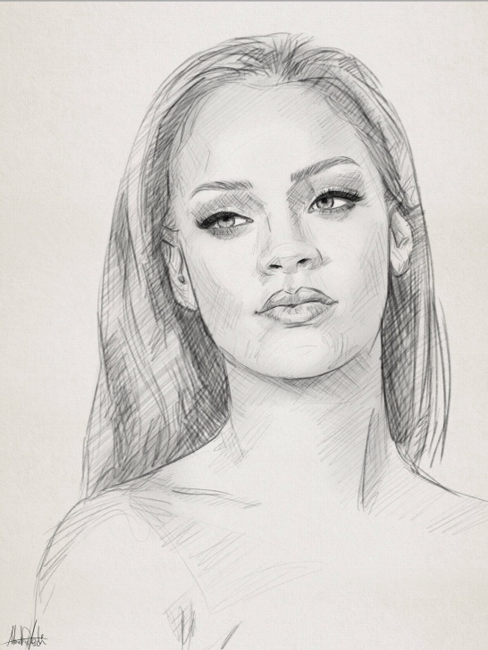 Best Face Pencil Sketch Ideas Pencil Sketch Drawing Portrait Of Rihanna By Ahmad Kadi | Draw Photo