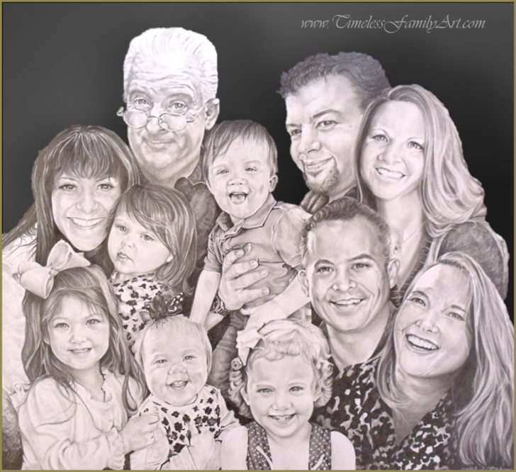 Best Family Sketches With Pencil Lessons Hand Drawn Portraits From Photos & Family Portrait Drawings Pic